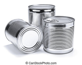 Tin cans - Three different unopened cans isolated on white.