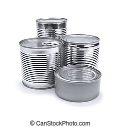 Tin cans - Four different tin cans isolated on white.