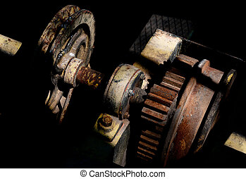 Machine part - Part of a machine mechanical gear isolated on...