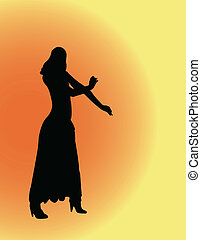 girl with backround - vector