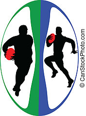 Rugby players in ball - vector