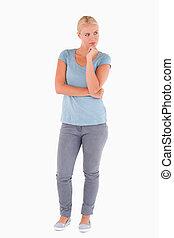 Gorgeous pensive woman posing