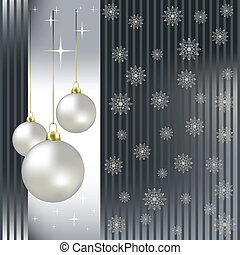 Christmas balls and snowflakes on a silver background