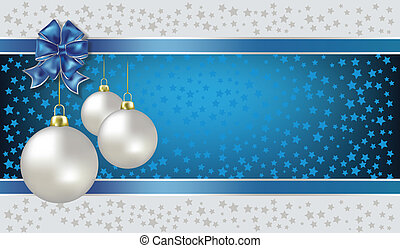 Christmas balls and stars blue vector background