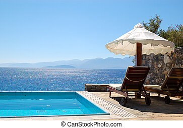 Swimming pool at luxury villa, Crete, Greece
