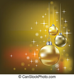 Christmas balls and stars vector background - Christmas...