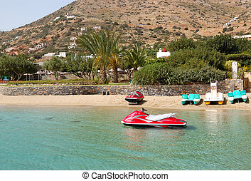 Jet ski at the beach of luxury hotel, Crete, Greece