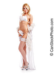 woman in peignoir - charming woman in peignoir isolated on...