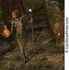 sorcerer casting a spell - 3d render