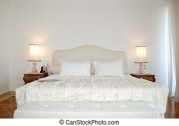 The bedroom in luxury apartment of modern hotel, Crete,...