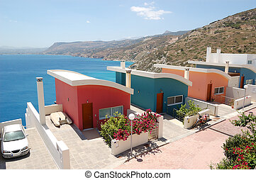 Holiday villas at resort, Crete, Greece