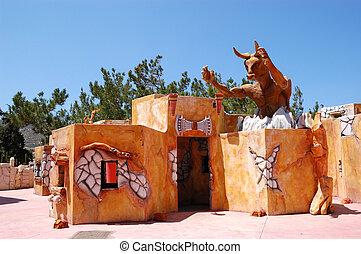 hotel, recreação, turista, Palácio, Área, atração, Knossos,...