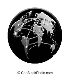 black icon with interconnected world