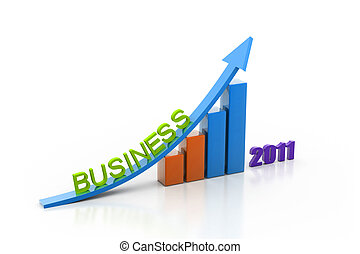 business growth of year in white