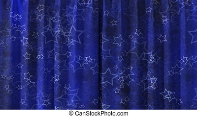 Curtain opening blue HD - Blue Curtain with stars opening in...