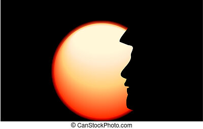 Soldier face silhouette in front of sun rising