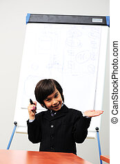 Genius boy making a  presentation