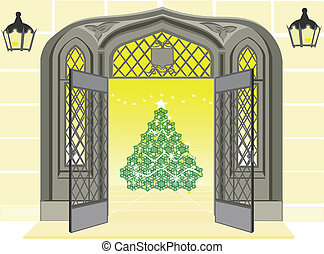 Open door showing Christmas scene - Open door showing a...