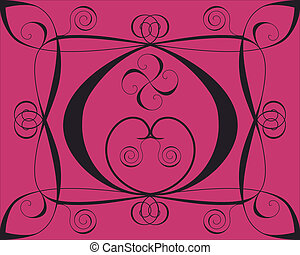 Design background with hearts and spirals on deep red