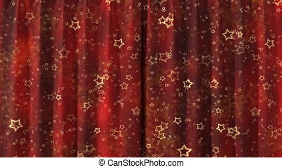 Curtain opening red HD - Red Curtain with stars opening in...