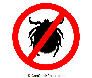 Prohibition sign for ticks on white background