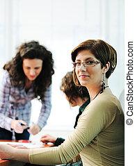 会議, オフィス, ビジネス, 執筆, 板, 保有物, 女性