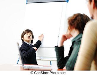 Genius kid on business presentation