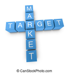 Target market 3D crossword on white background