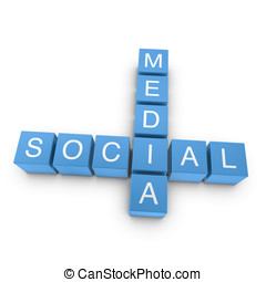 Social media 3D crossword on white background