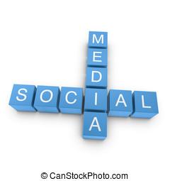 Social media 3D crossword on white background