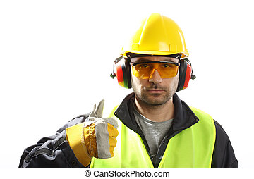 thumbs up  - Worker with protective gear with thumbs up