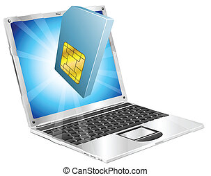 Phone SIM card icon laptop concept