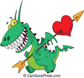 funny dragon with heart - illustration of a funny dragon...