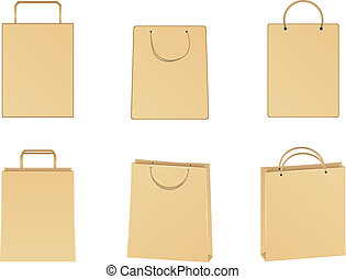 Vector paper bags - Set of vector paper bags on white...