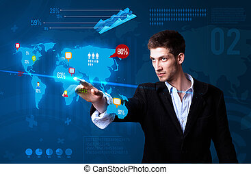 Businessman pressing social media button on the map