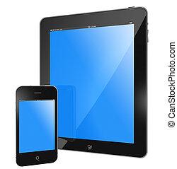 tablette, PC, -, tampon, téléphone
