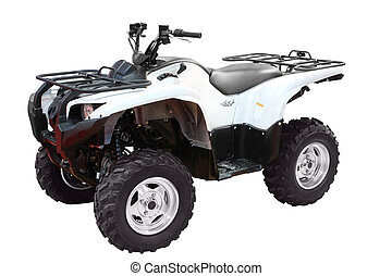 white atv - white 4x4 atv isolated