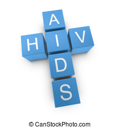 HIV and AIDS crossword on white background, 3D rendered...