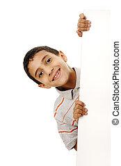 Retrato, Feliz, pequeno, Menino, segurando, em branco,...