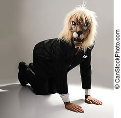 Portrait of monster boss businessman with face of lion
