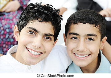 Portrait of two boys brothers and best friends with healthy teeth