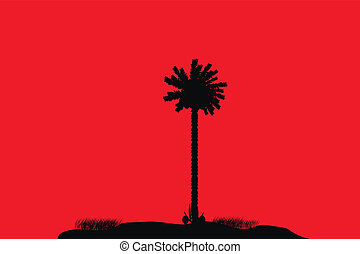 Silhouette of a tropical island on red