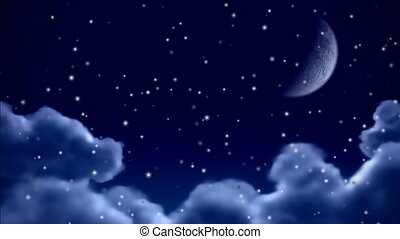 Snowfall over night sky seamless loop