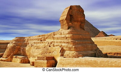 The Sphinx and Pyramid - The Great Sphinx of Giza over sky...