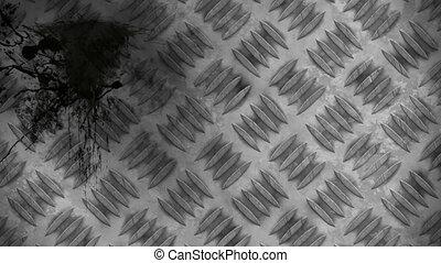 Grunge background - Black splatters over metal plate