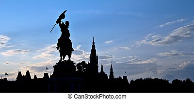 Heldenplatz Silhouette - Silhouette of the statue of...