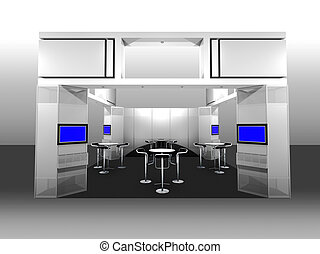 Exhibition Booth - 3d render of a blank trade exhibition...