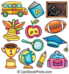 Colorful school icons - Vector set of colorful school design...
