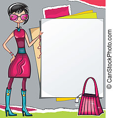 Fashion shopping girl showing message bord with and shopping...