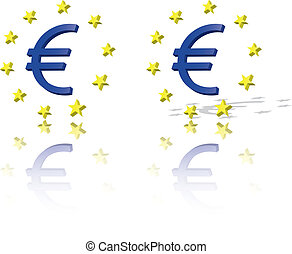Euro symbol, European Union unit of currency with yellow...